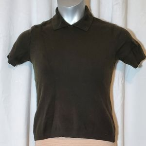 Tahari wool brown golfing shirt size M